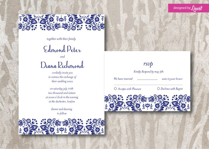 Floral Wedding Invitation-Digital wedding invitation-Printable wedding invitation set-Custom wedding invitation-Folk-Hungarian folk by Linvit on Etsy