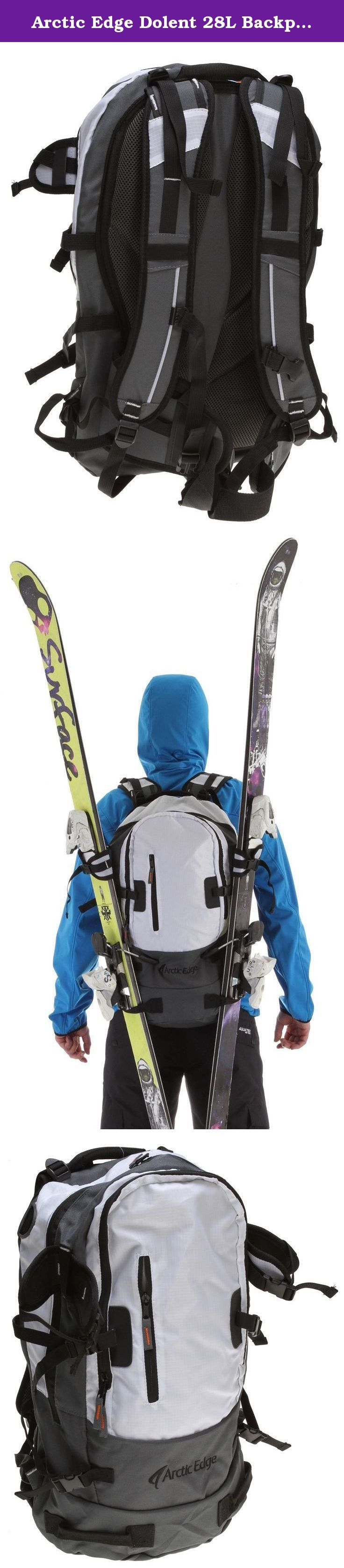 Arctic Edge Dolent 28L Backpack White Mens. Classic ski backpack Key Features of the Arctic Edge Dolent 28L Backpack: 2 external snow tool/shovel holder Padded backside Ergonomic straps and hip-belt Height adjustable chest strap Vertical ski/snowboard carry system Top opening for hydro system Load compression straps .