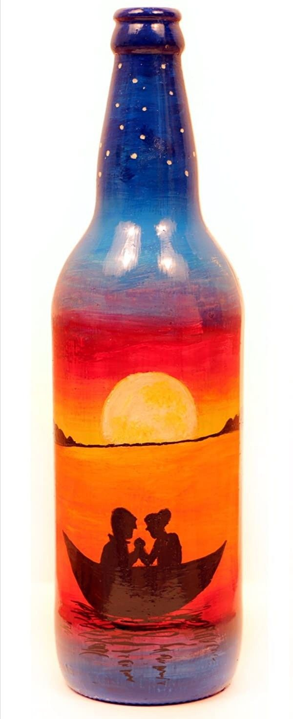 Pin By Akhil Jaison On Art In 2020 Bottle Painting Painted Wine Bottles Glass Bottles Decoration