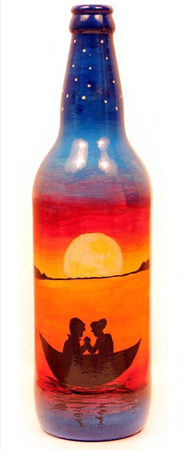 Pin By Akhil Jaison On Art In 2020 Bottle Painting Painted Wine Bottles Glass Bottles Decoration