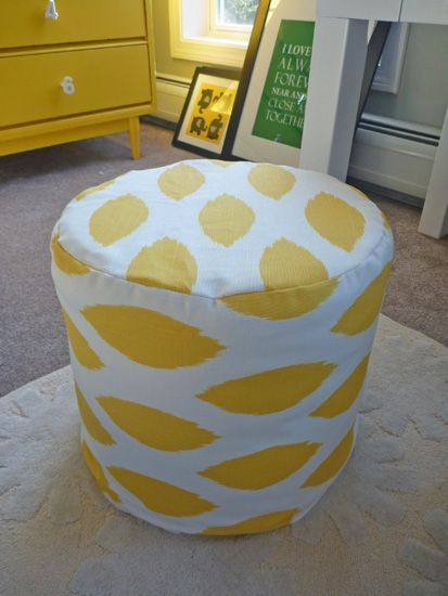 diy-ottoman-after  Pouf type made with rounds of foam and covered. Nice!