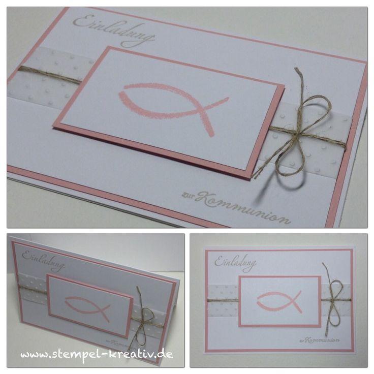 Kommunionskarte mit Fisch (Stempel von Butterer, HeinDesign und Stampin up)