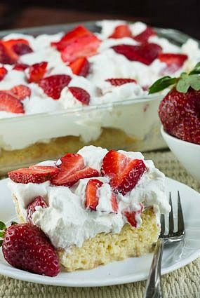 Tres Leches Cake with fresh Strawberries