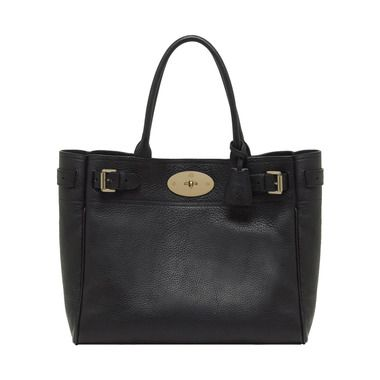 Mulberry - Bayswater Tote in Black Natural Leather With Brass