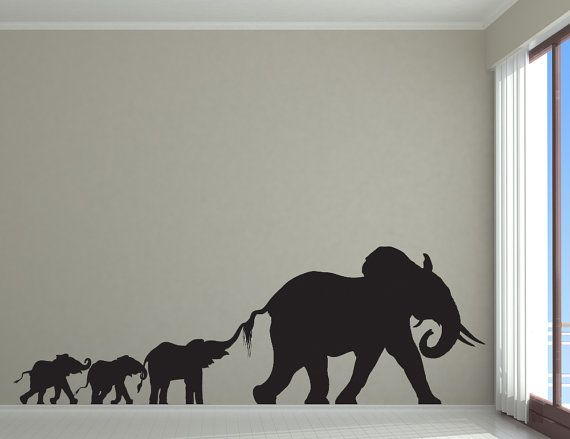 Elephant Family, Mom or Dad, Baby, Sibling - Decal, Sticker, Vinyl, Wall, Home, Nursery, Kid's Bedroom Decor