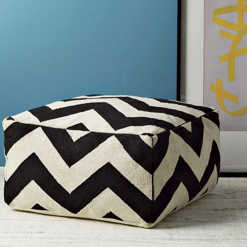 Ziggy zaggy. In a fresh square shape, our bold, graphic Zigzag Pouf is woven in the same pattern as our popular rug. Arrange a few around a coffee table for casual seating, or rest a tray on top and turn one into a temporary side table.