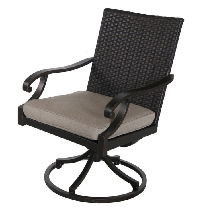 Royal Garden Summer Wicker Outdoor Swivel Dining Chair - Set of 2 - Shale - A145200-02-SCCE