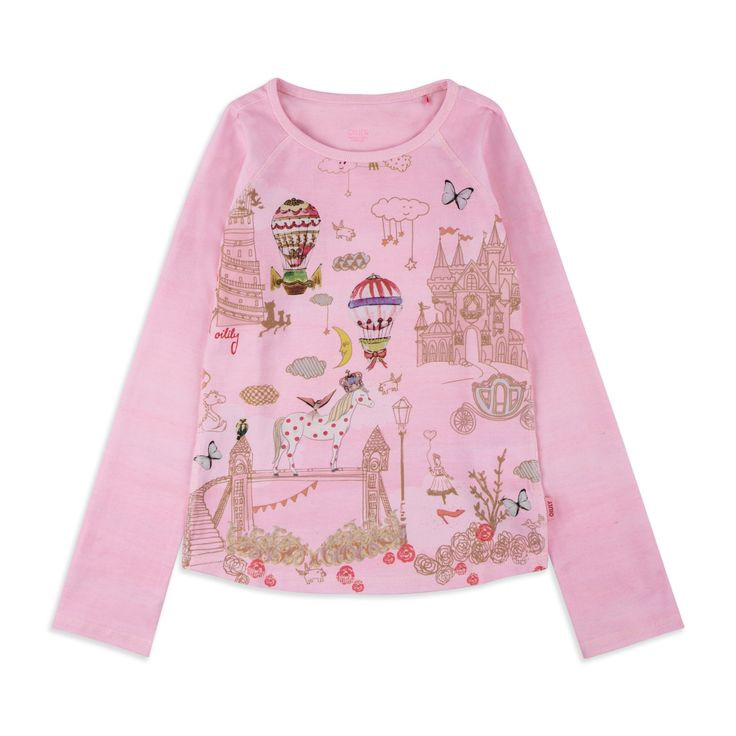OILILY Girls 'Tumble' Top - Pink From £42 Girls long sleeve top • Soft stretchy cotton • Round neckline • Colourful girly print • Material: 95% Cotton, 5% Elastane