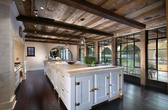 Suzie: Forest Studio - Gorgeous kitchen with rustic wood planks & box beams ceiling, floor to ...