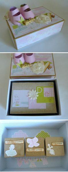 Thème Naissance - Boîte de naissance avec son mini album et ses mini boîtes intérieures servant à accueillir le bracelet de naissance, les petites dents et autres bidouilles.
