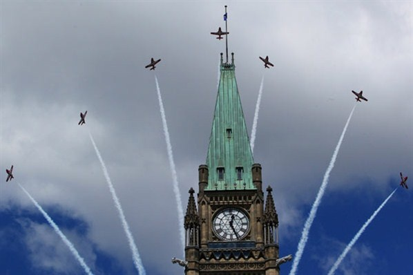 Canadian Snowbirds fly over the Peace Tower