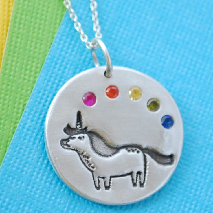 Silver UNICORN and RAINBOW necklace, round pendant with GEMMA Correll, eco-friendly Handcrafted by Chocolate and Steel. $58.00, via Etsy.: Chocolate, Rainbows, Correll Illustration, Necklaces, Gemma Correll, Eco Friendly Silver, Unicorns