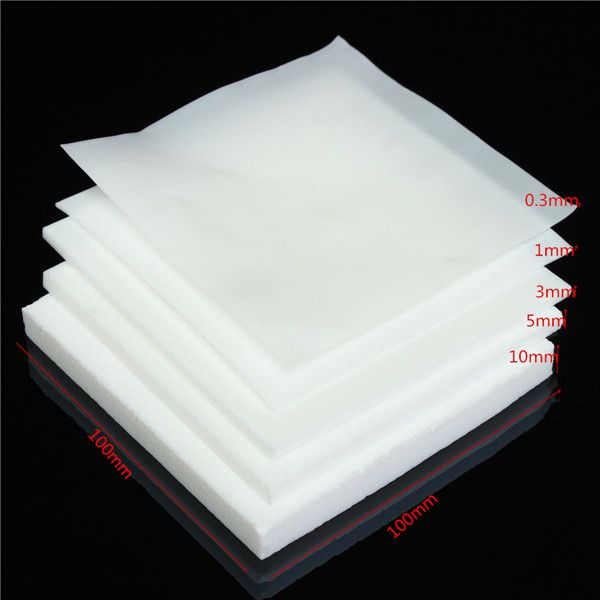 Placa de la hoja 100x100mm ptfe de teflón plástico de ingeniería blanco con 0.3 mm 1 mm 3 mm 5 mm 10 mm de espesor