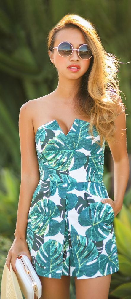 Green Tropical Print Strapless Romper