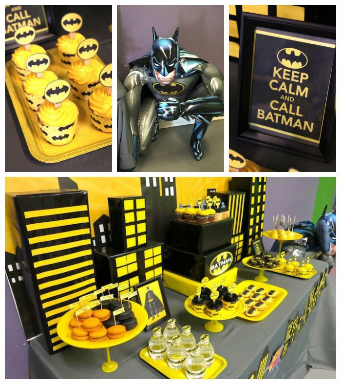 Batman themed birthday party via Kara's Party Ideas KarasPartyIdeas.com Printables, decor, banners, favors, food, and more! #batman #batmanparty #batmanpartyideas #boypartyideas (2)
