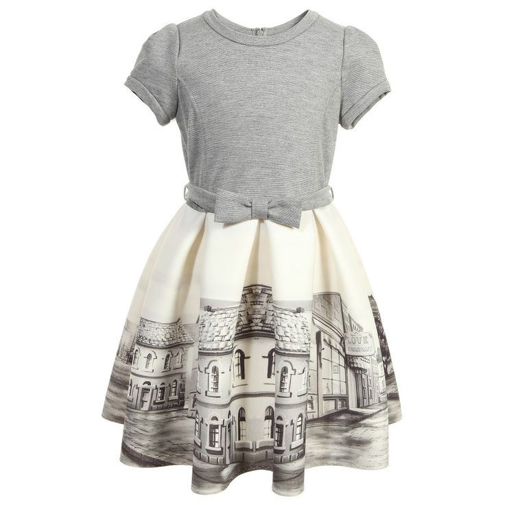 Monnalisa Grey & Ivory Street Print Neoprene Dress at Childrensalon.com