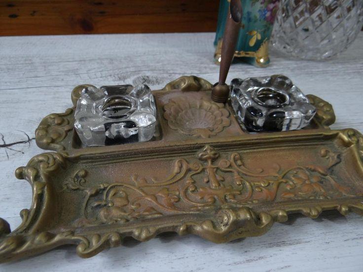 Vintage Ornate Brass Antique Inkwell With PEN Holder 2 Glass INK Pots | eBay