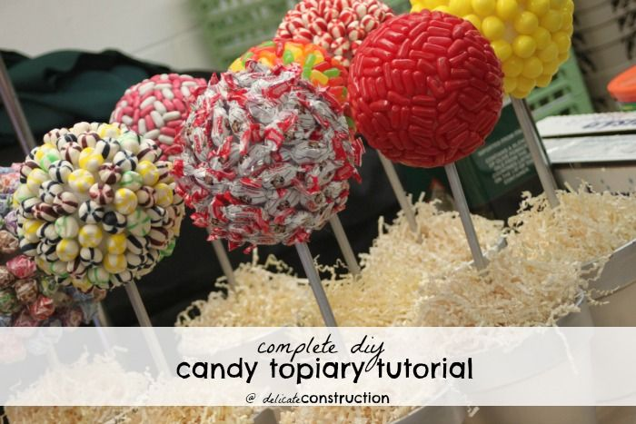 Complete DIY Candy Topiary Tutorial {And A Candy Bar} - Delicate Construction