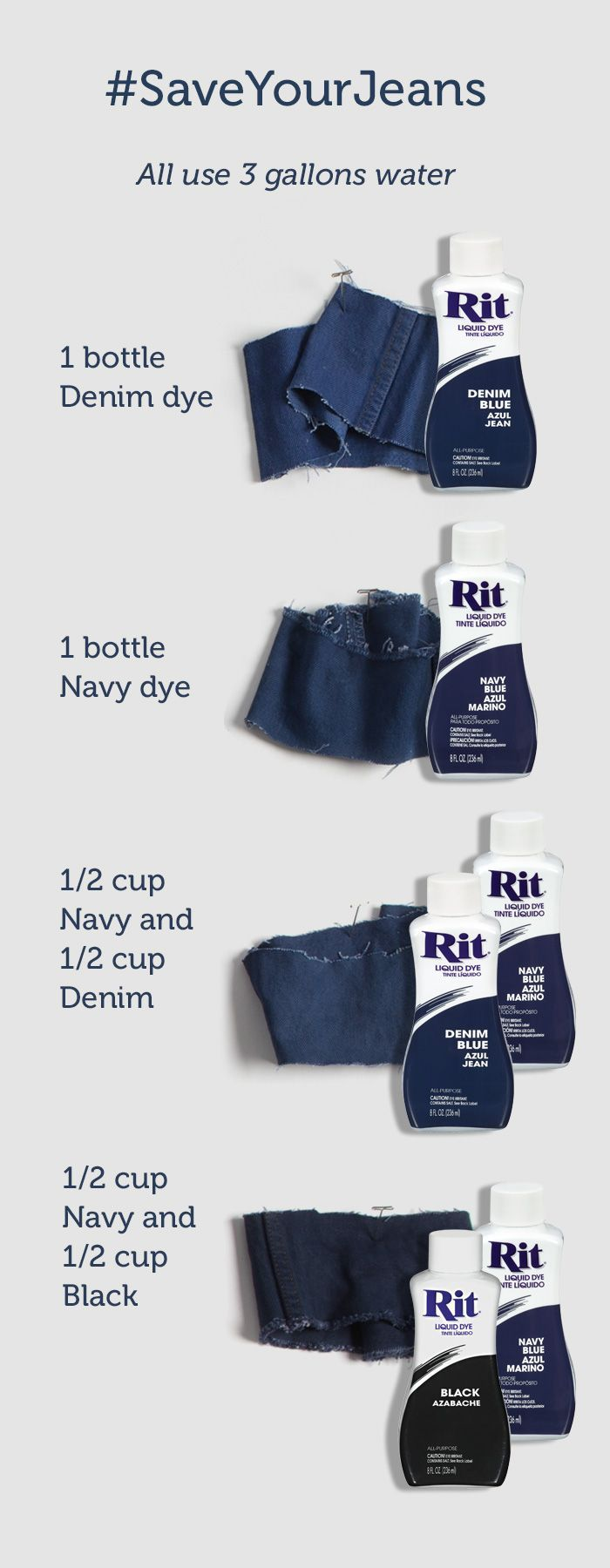 Dye your faded jeans dark blue again. Four different color formulas to regain different denim washes.