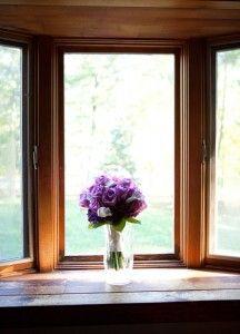 Bride's bouquet by window light