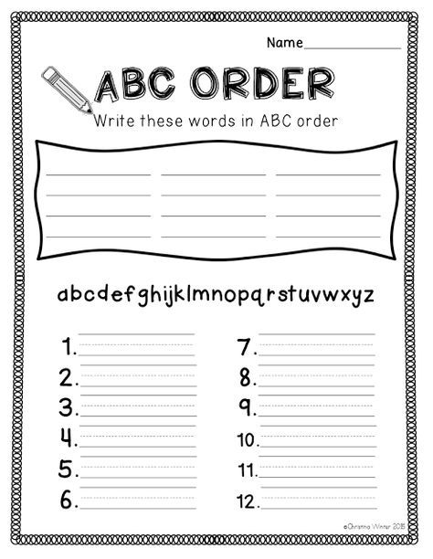 Spelling Activities {a Freebie} - ABC order sheet