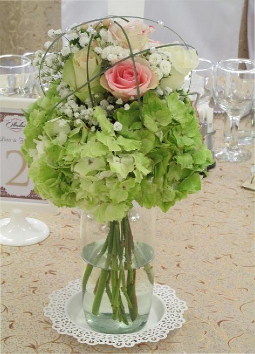 hortenzia-rózsa asztaldísz - Amaltheia Manufaktúra virág és dekoráció