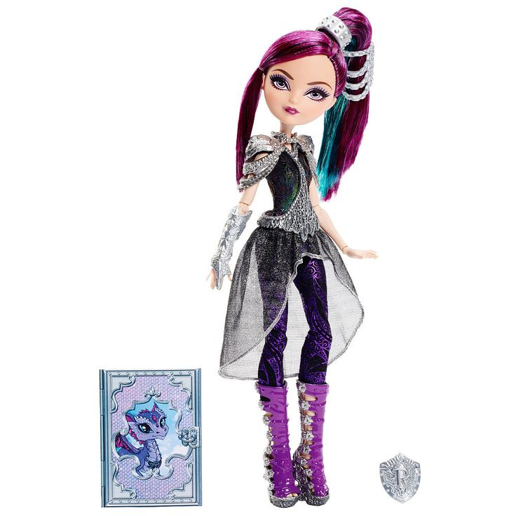 Join the Dragon Games with this Ever After High Raven Queen doll! In their most epic adventure yet, the powerful princess students see the return of dragons to Ever After High -- and with them the return of the most amazing sport ever after, Dragon Games! Raven Queen, Darling Charming and Holly O'Hair dolls are ready to play in the games. Each doll is dressed in her epic dragon-riding outfit, complete with metallic gear and signature details. Raven Queen doll, daughter of the Evil Queen…