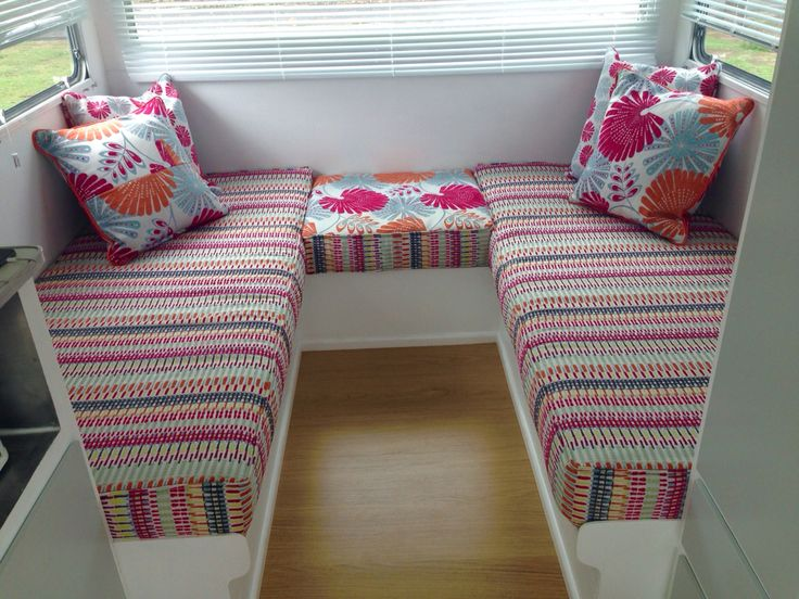 Interior upholstery at the rear of the caravan. Warwick fabrics are beautiful!