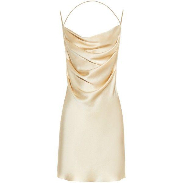 Saint Laurent Drape-front open-back silk dress ($1,970) ❤ liked on Polyvore featuring dresses, short dress, gold, drape front dress, draped cocktail dress, cream cocktail dress, strappy dress and open back cocktail dress