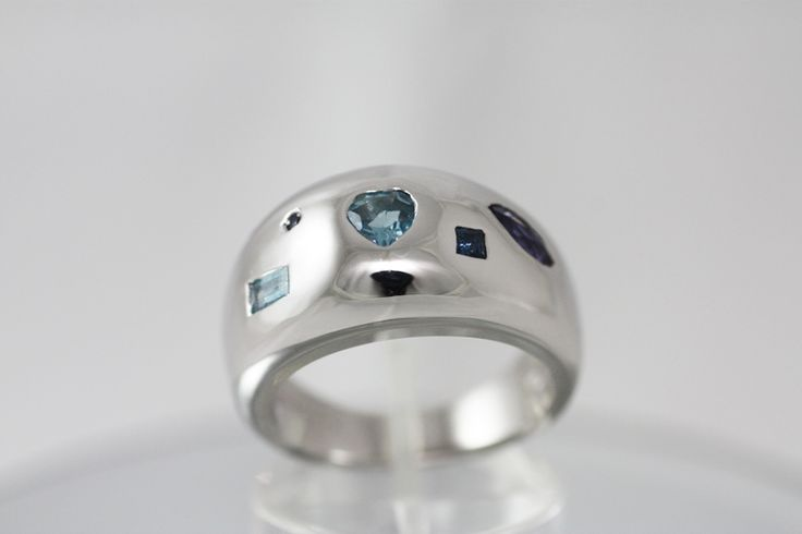 Wide Ring - Iolites , Aquamarines & Sapphires mounted on Sterling Silver Platinum plated - Handmade - The Blue Moon ring