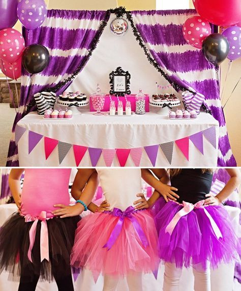 """""""Let's Dance"""" Pop Star Birthday Party with pink tutus a purple tye dye backdrop, disco ball cupcake toppers, giant balloons and cute cotton candy cups!"""
