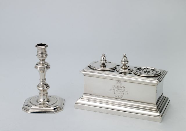 Inkstand Silver Date: 1730-1731 London, sterling standard, 1730-1, maker's mark of John White  Heraldry: Arms of Burscough  Provenance: Bishop William Burscough (d. 1755)
