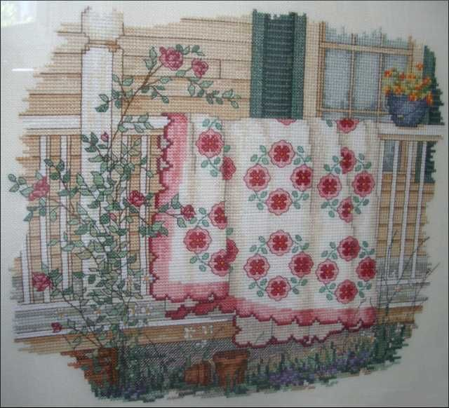 """""""August ~ Quilts For All Seasons"""" a cross stitch pattern by Paula Vaughan."""