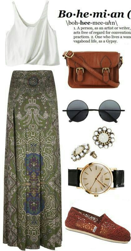 Bohemian Outfit, love the top and skirt but would only add thin strap sandles