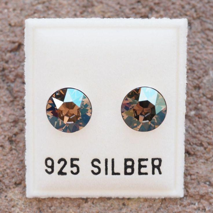 NEU 925 Silber OHRSTECKER 8mm SWAROVSKI STEINE iridescent green/grün OHRRINGE-£9,49-magoshop1