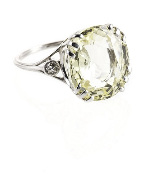 An Ornate and Pretty Yellow #Sapphire and Diamond Ring