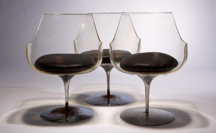 Erwine & Estelle Laverne Champagne chairs (3) Designed 1957 Lucite, aluminum, vinyl upholstery Laverne Originals