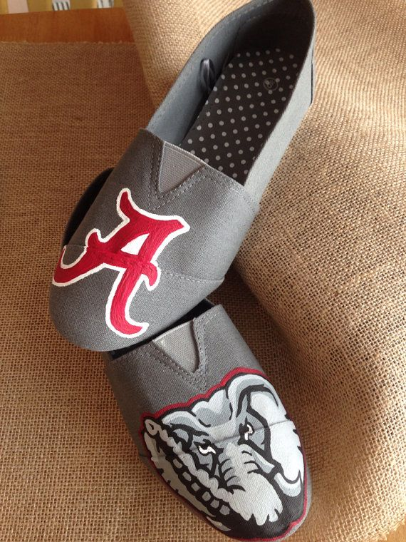 Boutique style Hand painted custom Alabama Bama crimson Tide Roll tide Football women's shoes size 7 ready to ship  on Etsy, $45.00