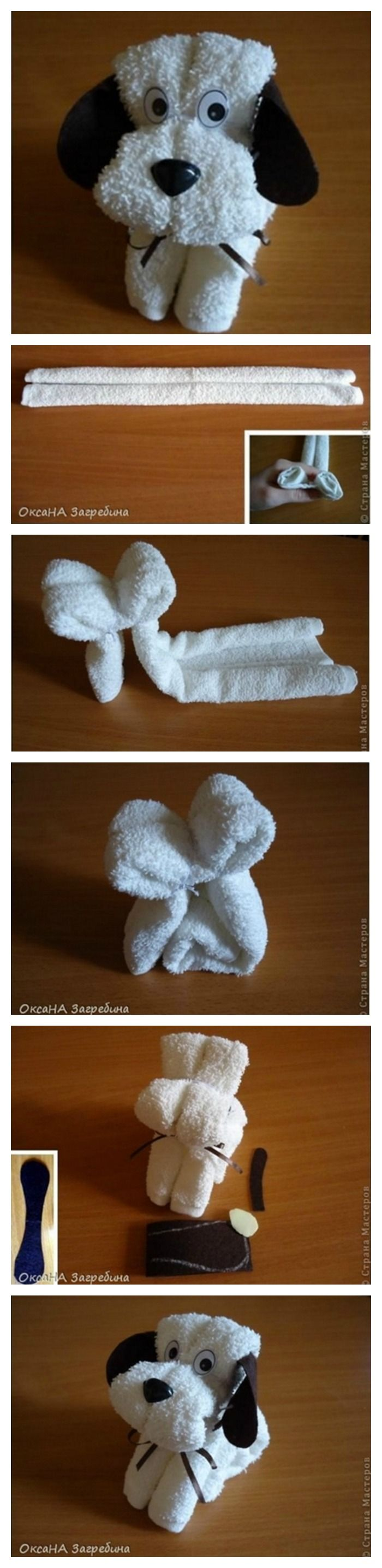 How to Make A Cute Puppy Towel #gift