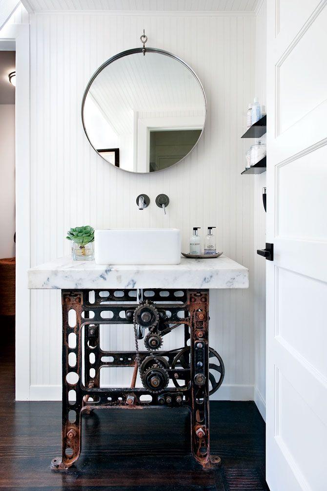 steampunk sinkPowder Room, Marbles Tops, Bathroom Vanities, Industrial Bathroom, Interiors Design, Industrial Chic, Bathroom Sinks, Sewing Machine, Antonio Martin