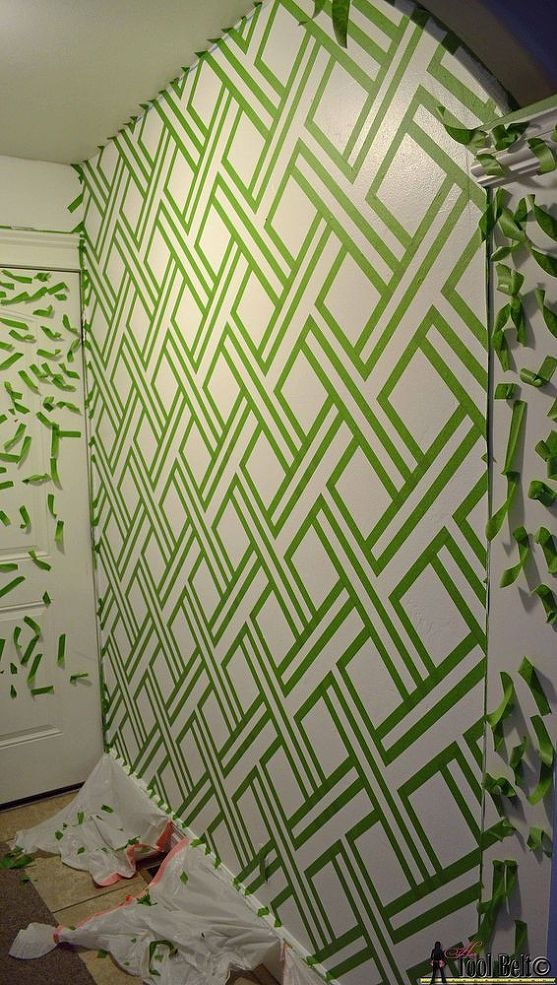 Diy Modern Wall Design With Painters Tape Painters Tape Diy Wall Art And Diy Wall