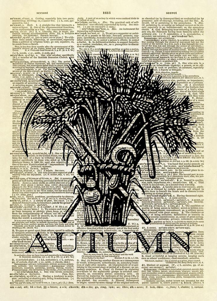 Autumn Harvest Sheaf of Wheat Dictionary Art Print