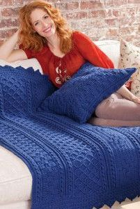Blueberry Mornings Basket Weave Crochet Afghan & Pillow | AllFreeCrochetAfghanPatterns.com