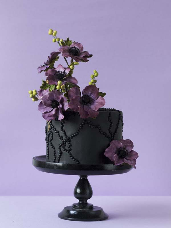 Black Cake with Purple Anemone Flowers and Black Sugar Pearls by Bakministeriet