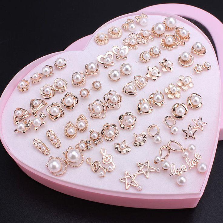 Lots Women Pearl Beads Anti Allergy Earrings Ear Stud Elegant Jewelry Xmas Gift  | eBay
