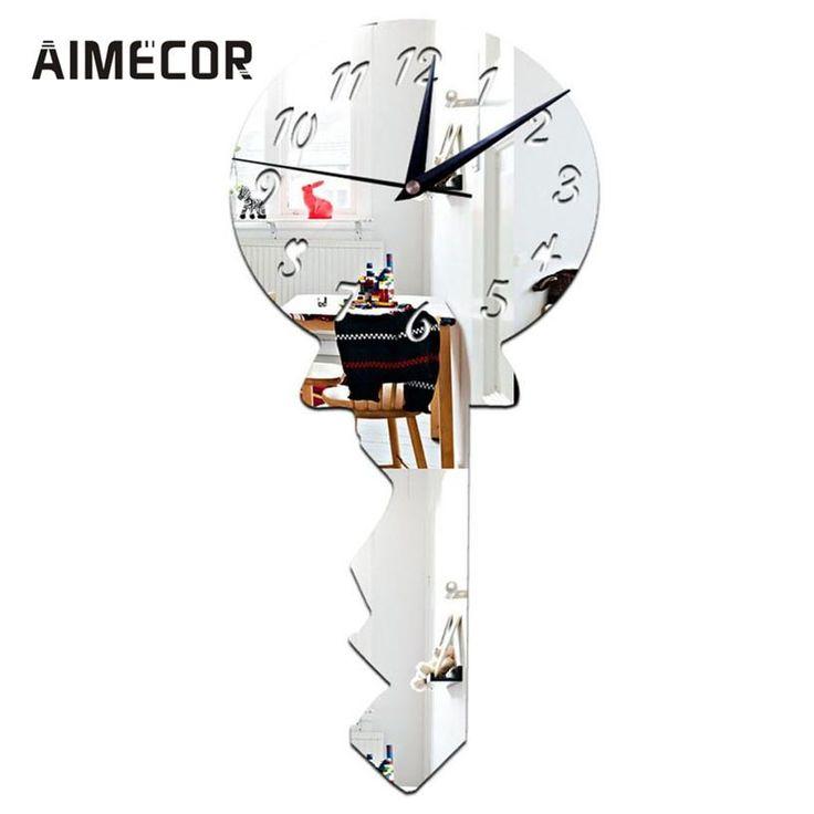 [Visit to Buy] My House 30x25cm Key Mirror Silver Wall Clock Modern Design Home Decor Watch Wall Sticker,jul 14 #Advertisement