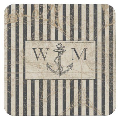 Old World Map Nautical Anchor Monogram Square Paper Coaster - monogram gifts unique design style monogrammed diy cyo customize