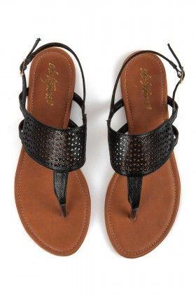 Eda Taşpınar Parmak Arası Lazer Kesim Siyah Sandalet: Lidyana.com