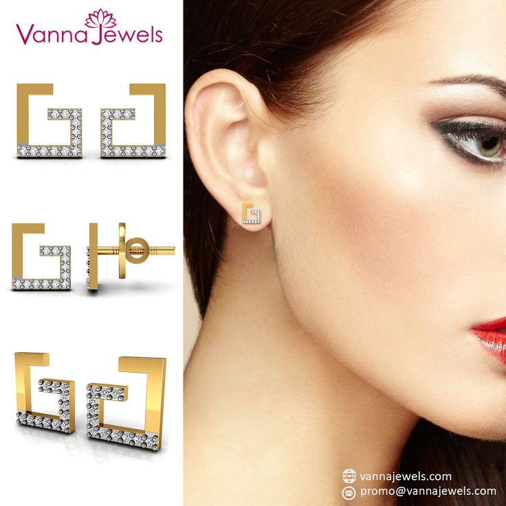 Certified Diamond Stud Earrings Authentic Jewelry Set in Solid Yellow Gold
