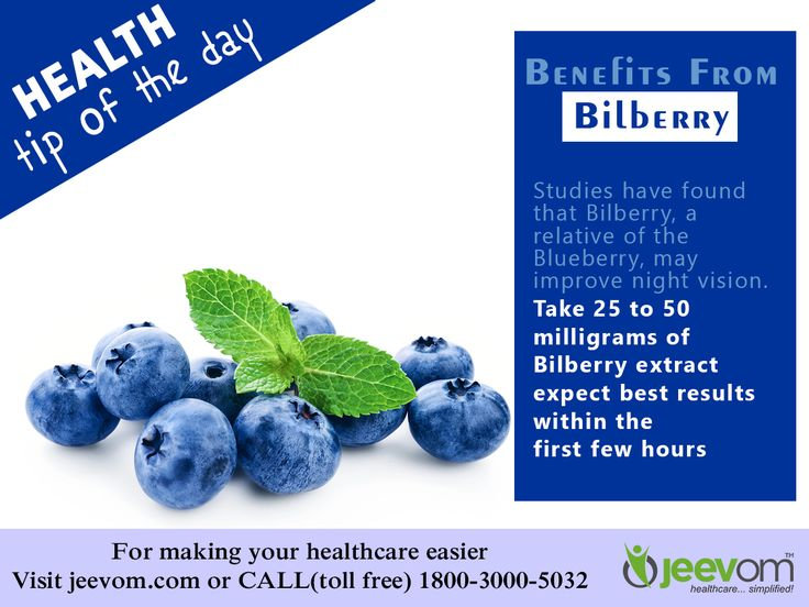 Health Tip of The Day -  Benefit From Bilberry:  Studies have found that Bilberry, a relative of the Blueberry, may improve night vision.  Take 25 to 50 milligrams of Bilberry extract; expect best results within the first few hours.  #HealthTips